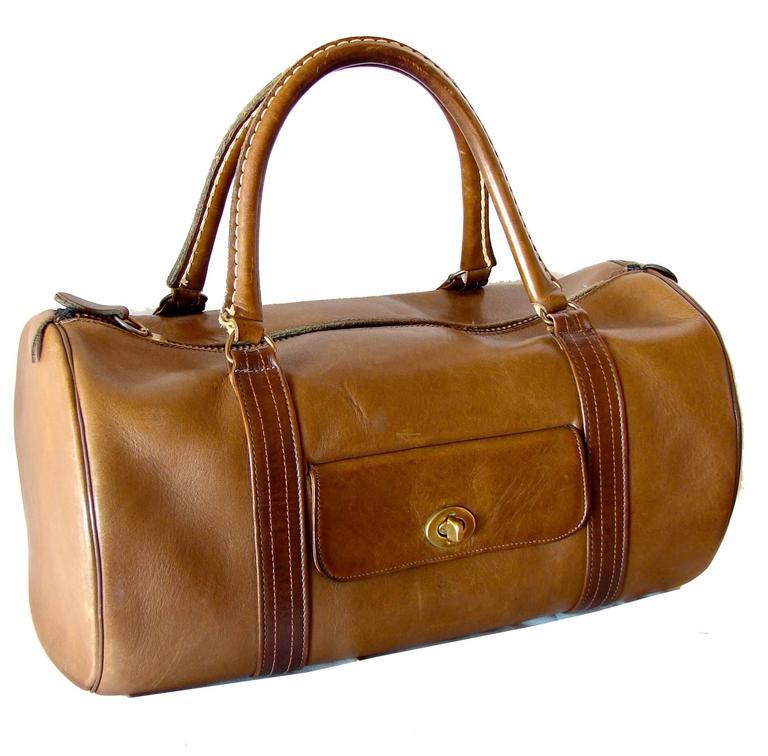 Brown Rare Bonnie Cashin Coach Saddle Leather Safari Bag Duffel Tote Carry On 1960s For