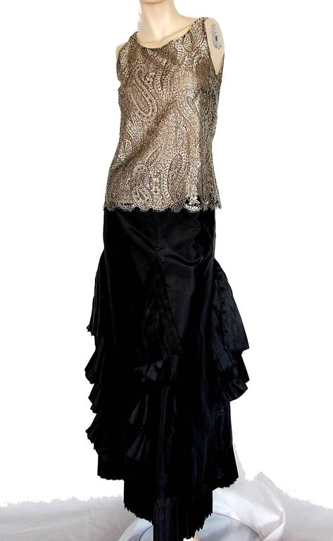 Chanel Metallic Paisley Lace & Silk Shell Top 2013 Collection Size 38 7
