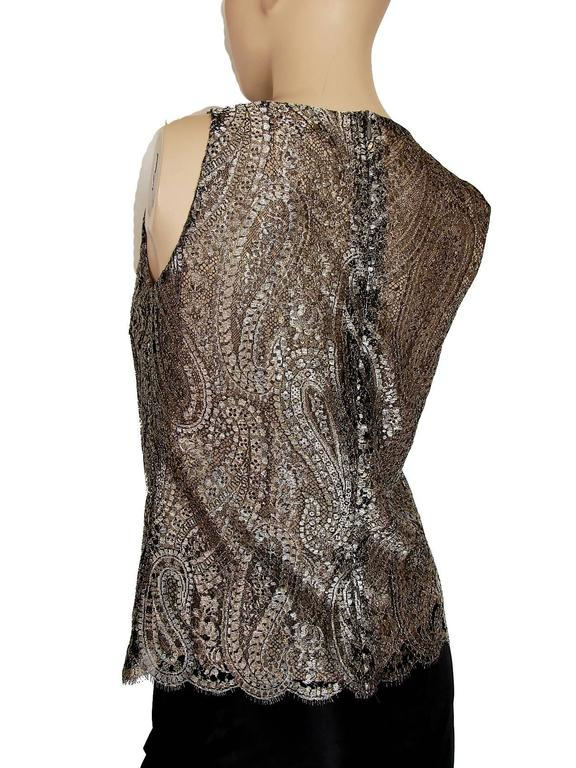Chanel Metallic Paisley Lace & Silk Shell Top 2013 Collection Size 38 5
