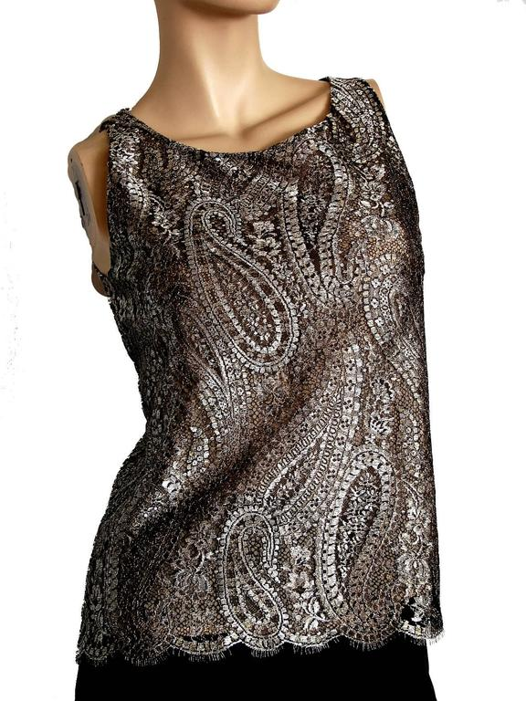 Chanel Metallic Paisley Lace & Silk Shell Top 2013 Collection Size 38 2