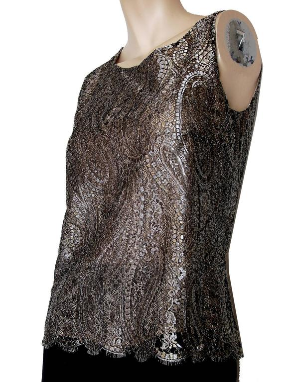 Chanel Metallic Paisley Lace & Silk Shell Top 2013 Collection Size 38 3