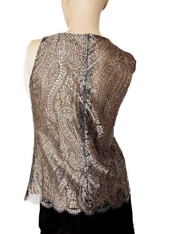 Chanel Metallic Paisley Lace & Silk Shell Top 2013 Collection Size 38 4