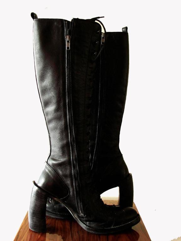 demeulemeester black leather talon heel knee boots