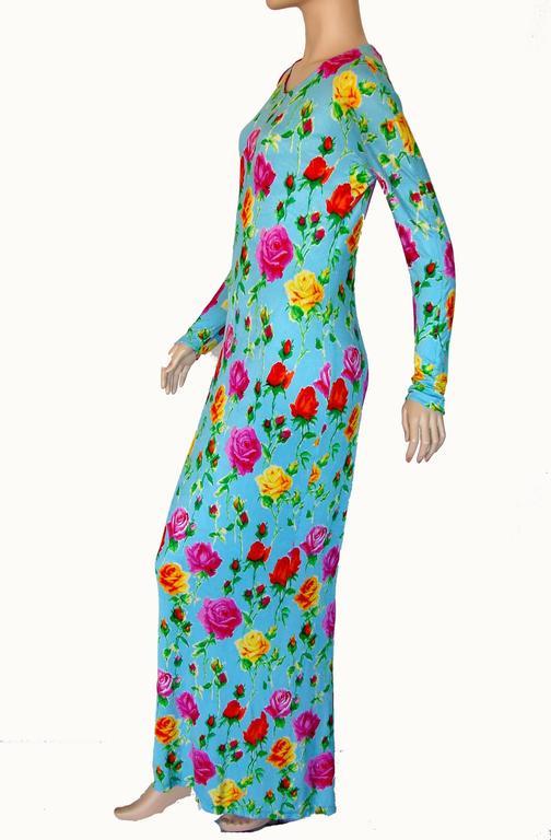 Versace Couture Turquoise Floral Print Dress Long 1995 Sz 44 Rare 2