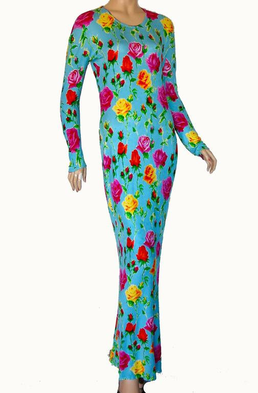 Versace Couture Turquoise Floral Print Dress Long 1995 Sz 44 Rare 3