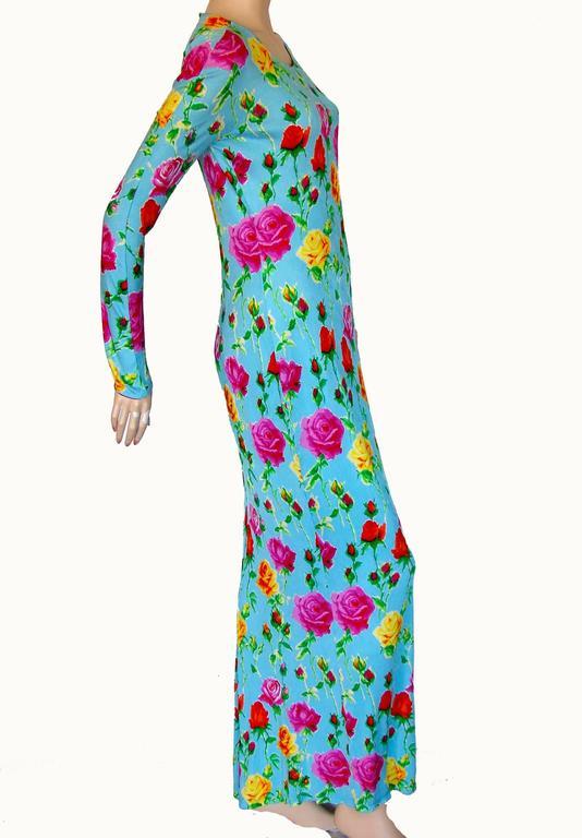 Versace Couture Turquoise Floral Print Dress Long 1995 Sz 44 Rare 4