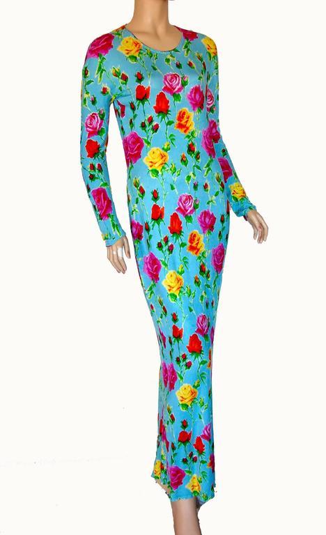 Versace Couture Turquoise Floral Print Dress Long 1995 Sz 44 Rare 5