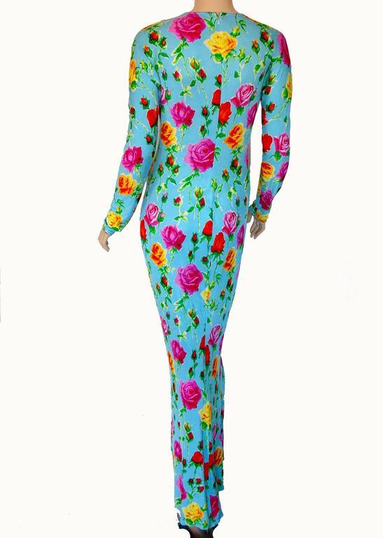 Versace Couture Turquoise Floral Print Dress Long 1995 Sz 44 Rare 6