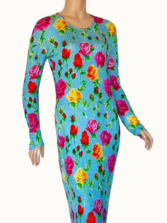Versace Couture Turquoise Floral Print Dress Long 1995 Sz 44 Rare 8