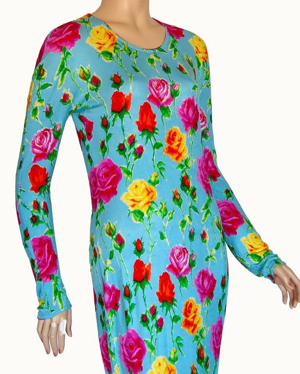 Versace Couture Turquoise Floral Print Dress Long 1995 Sz 44 Rare 9