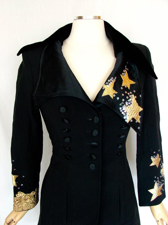 Christian LaCroix Long Jacket Black Velvet Embroidery Lace Sequins Stars 80s 38 In Excellent Condition For Sale In Port Saint Lucie, FL