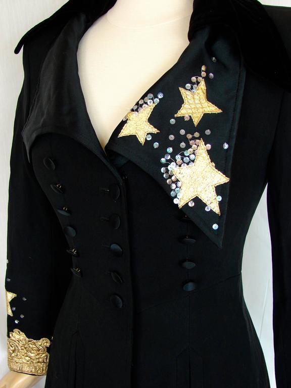 Christian LaCroix Long Jacket Black Velvet Embroidery Lace Sequins Stars 80s 38 4