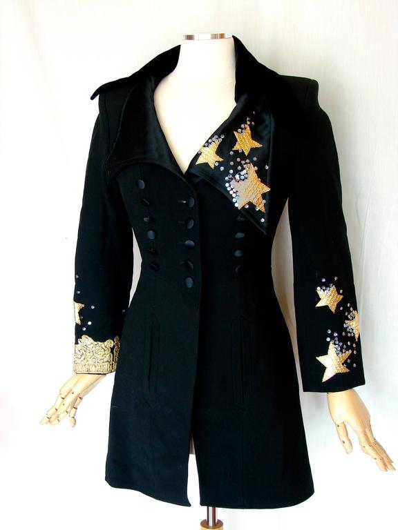 Christian LaCroix Long Jacket Black Velvet Embroidery Lace Sequins Stars 80s 38 5
