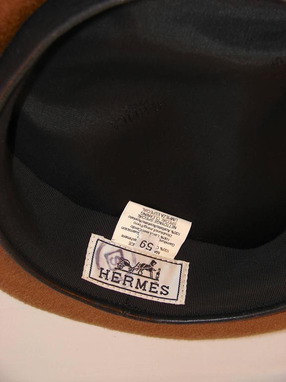 Hermes Camel Tan Cashmere & Ebene Deerskin Leather Beret Cap Sz 59  7