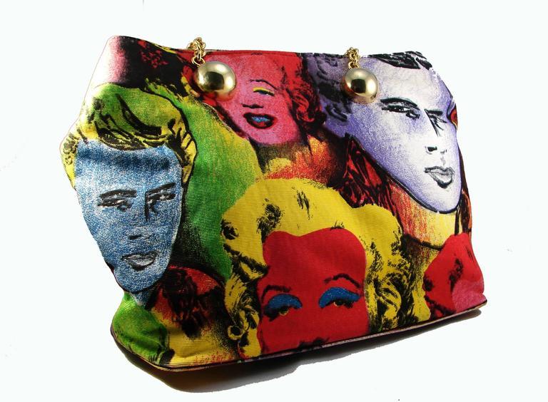d592649983f6 Original Versace Couture Warhol Bag Pop Art Marilyn Monroe James Dean Rare  90s For Sale 1