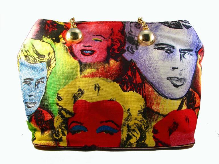1a8253d5c2cb Original Versace Couture Warhol Bag Pop Art Marilyn Monroe James Dean Rare  90s In Excellent Condition