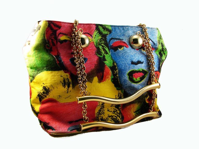2ddfaece0716 Women s Original Versace Couture Warhol Bag Pop Art Marilyn Monroe James  Dean Rare 90s For Sale