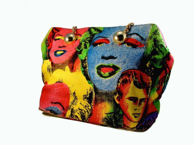 fc1d766026ba Original Versace Couture Warhol Bag Pop Art Marilyn Monroe James Dean Rare  90s For Sale 3