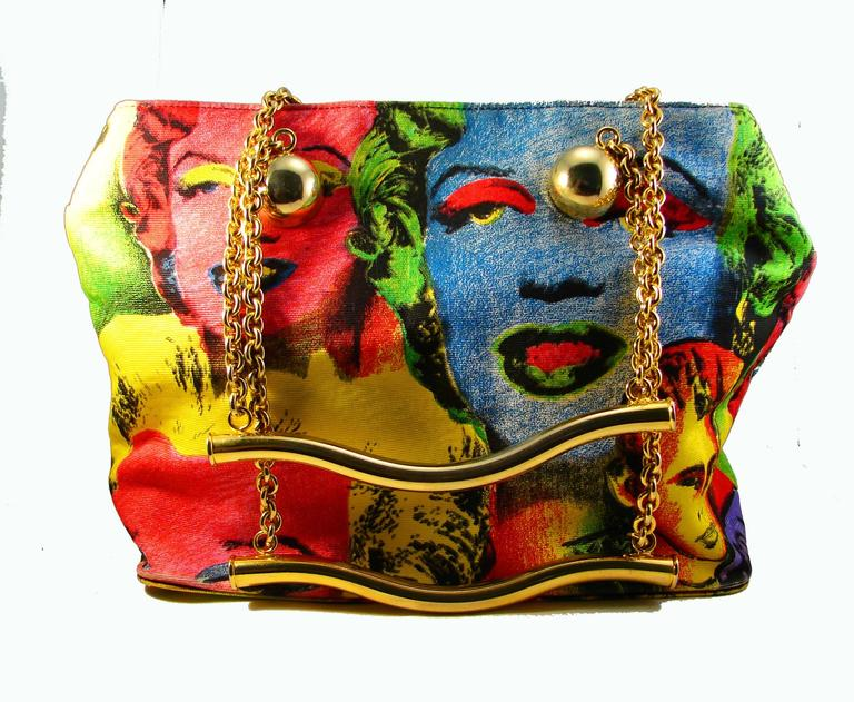 1883b7c00ce8 Beige Original Versace Couture Warhol Bag Pop Art Marilyn Monroe James Dean  Rare 90s For Sale