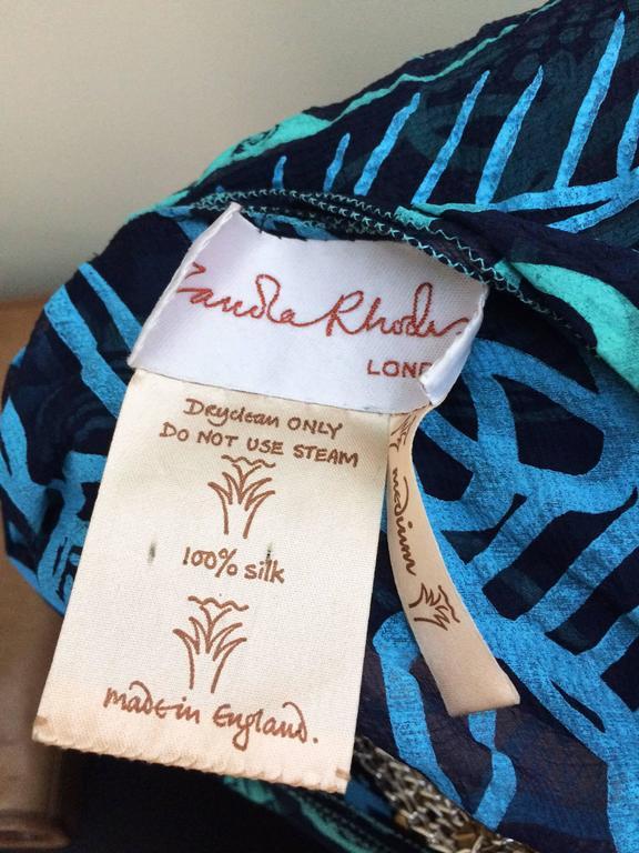 70s Zandra Rhodes Kaftan Dress Silk Chiffon Blue Abstract Print Size M   10