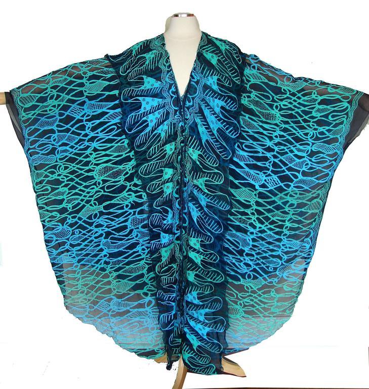 70s Zandra Rhodes Kaftan Dress Silk Chiffon Blue Abstract Print Size M   9