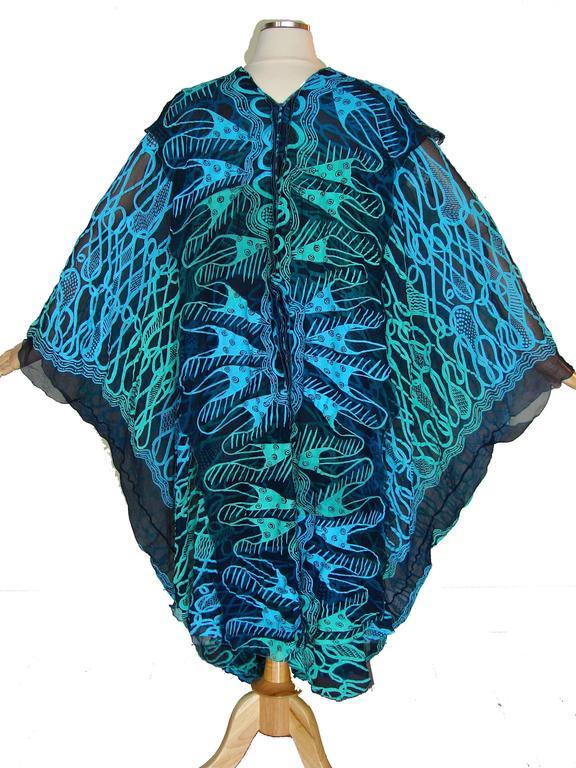 70s Zandra Rhodes Kaftan Dress Silk Chiffon Blue Abstract Print Size M   7