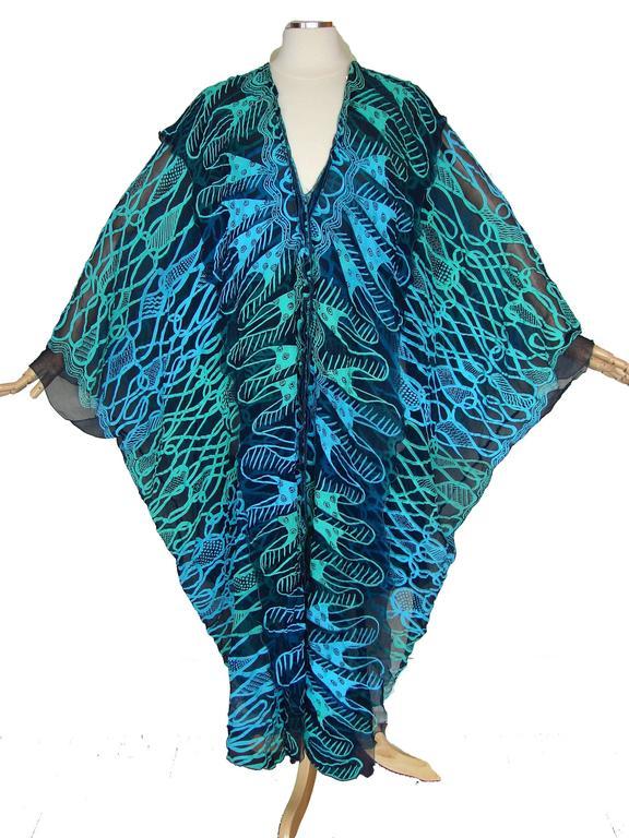 70s Zandra Rhodes Kaftan Dress Silk Chiffon Blue Abstract Print Size M   3