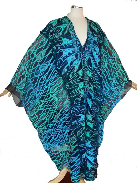 70s Zandra Rhodes Kaftan Dress Silk Chiffon Blue Abstract Print Size M   2