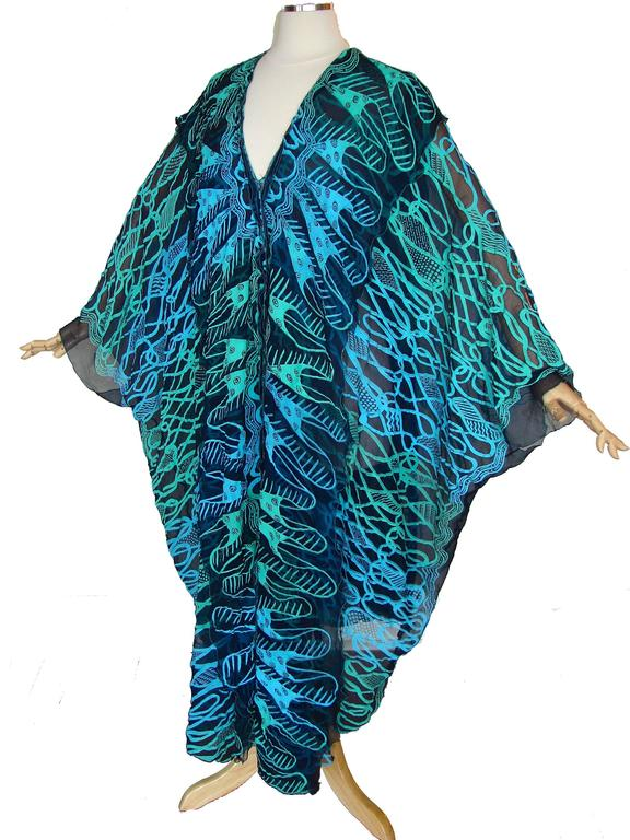 70s Zandra Rhodes Kaftan Dress Silk Chiffon Blue Abstract Print Size M   5