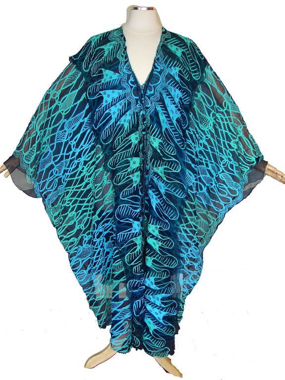 70s Zandra Rhodes Kaftan Dress Silk Chiffon Blue Abstract Print Size M   6