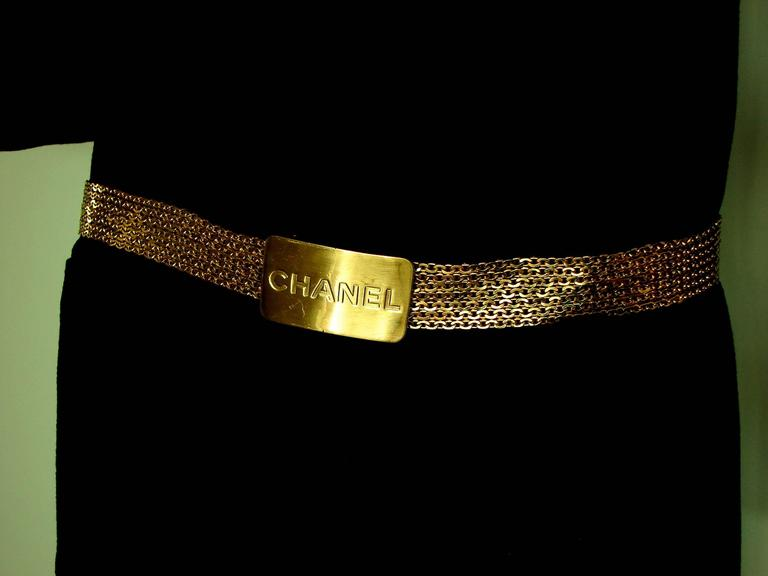 Chanel Large Multi Chain Belt CC Logo Gold Bar 1996 Sz L 4