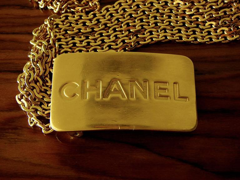Chanel Large Multi Chain Belt CC Logo Gold Bar 1996 Sz L 2
