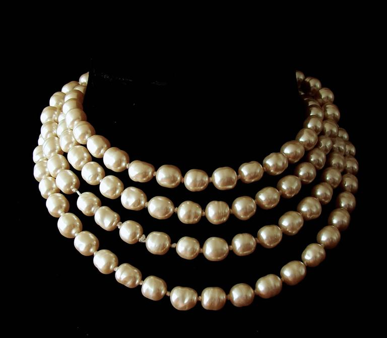 Chanel Pearl Necklace Infinity Opera Length 65in in Box 1980s 2