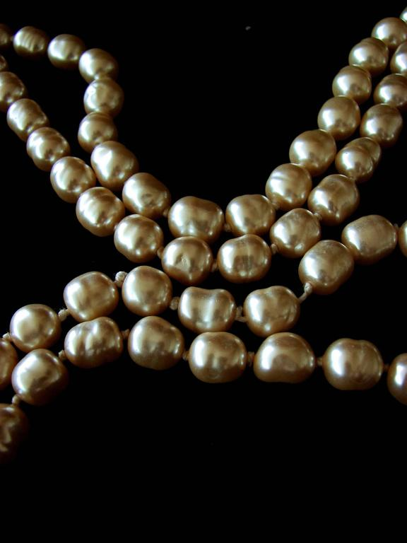 Chanel Pearl Necklace Infinity Opera Length 65in in Box 1980s 3