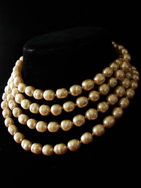 Chanel Pearl Necklace Infinity Opera Length 65in in Box 1980s 4