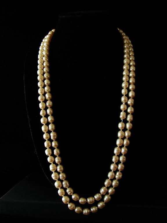 Chanel Pearl Necklace Infinity Opera Length 65in in Box 1980s 5