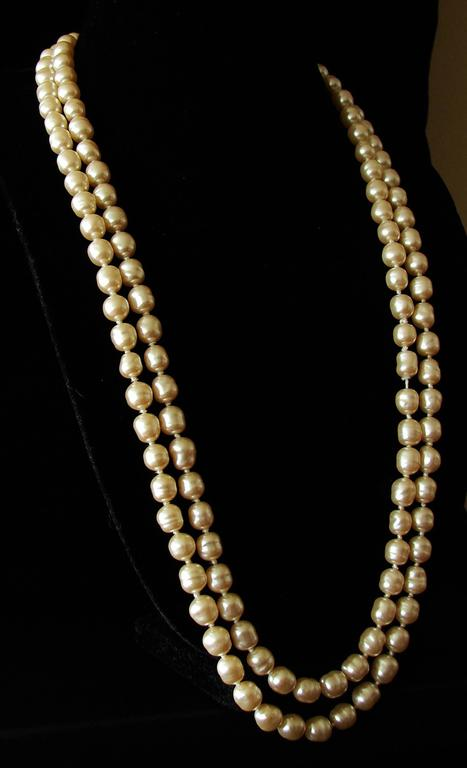 Chanel Pearl Necklace Infinity Opera Length 65in in Box 1980s 6