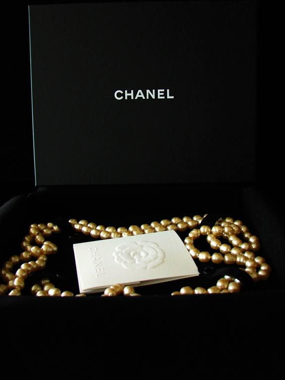 Chanel Pearl Necklace Infinity Opera Length 65in in Box 1980s 7