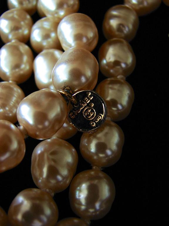 Chanel Pearl Necklace Infinity Opera Length 65in in Box 1980s 10