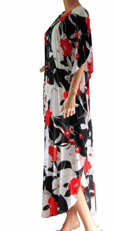 Hilo Hattie Kaftan Caftan Dress Red Hibiscus Print Evelyn Margolis Hawaii 70s 6