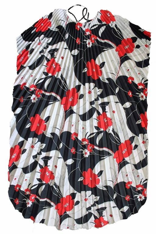 Hilo Hattie Kaftan Caftan Dress Red Hibiscus Print Evelyn Margolis Hawaii 70s 8