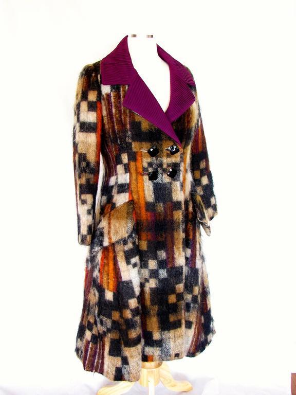 Rare Ronald Amey Coat Tzaims Luksus Mohair Attr. + Silk Collar 1970s Sz 6 3
