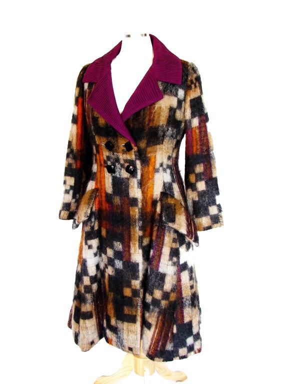 Rare Ronald Amey Coat Tzaims Luksus Mohair Attr. + Silk Collar 1970s Sz 6 2