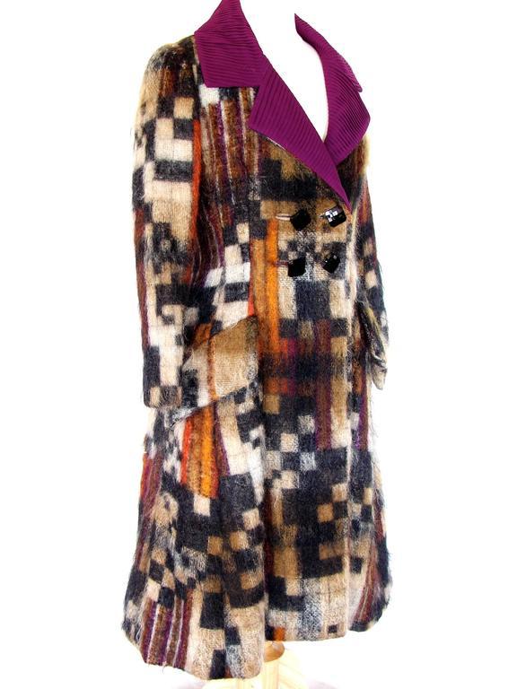 Rare Ronald Amey Coat Tzaims Luksus Mohair Attr. + Silk Collar 1970s Sz 6 4