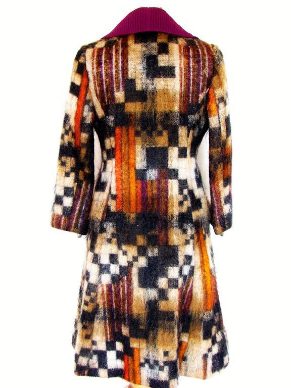 Rare Ronald Amey Coat Tzaims Luksus Mohair Attr. + Silk Collar 1970s Sz 6 5
