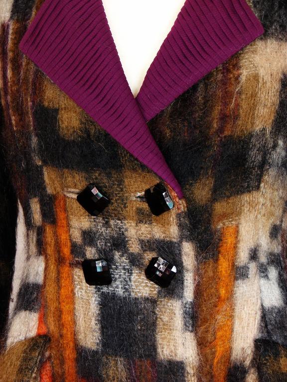Rare Ronald Amey Coat Tzaims Luksus Mohair Attr. + Silk Collar 1970s Sz 6 6