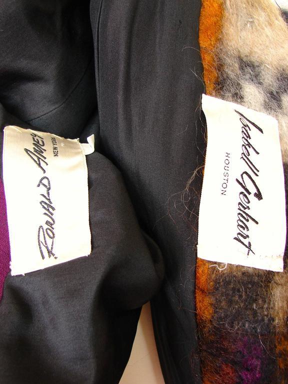 Rare Ronald Amey Coat Tzaims Luksus Mohair Attr. + Silk Collar 1970s Sz 6 8