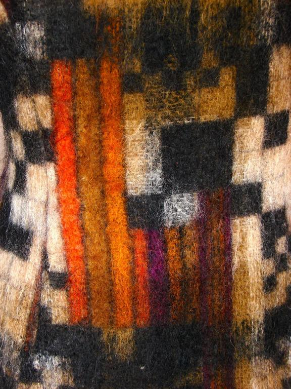 Rare Ronald Amey Coat Tzaims Luksus Mohair Attr. + Silk Collar 1970s Sz 6 7