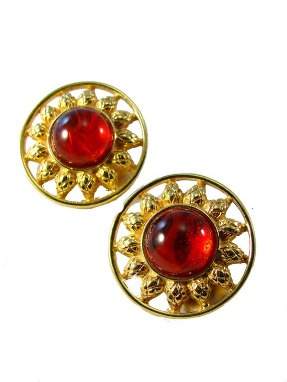 Contemporary Fendi Earrings Red Glass Cabochon