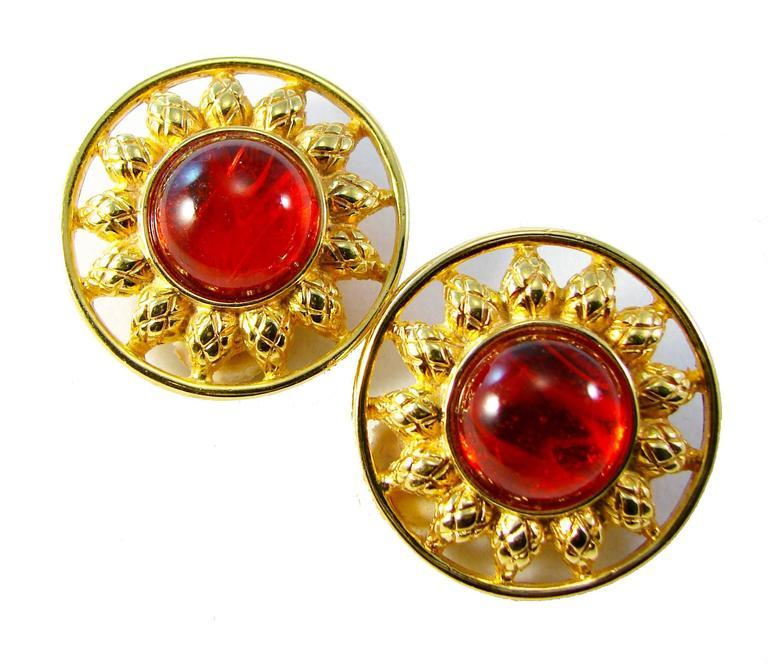 Fendi Earrings Red Glass Cabochon